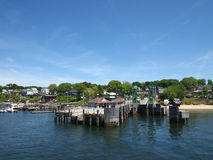 Peaks Island Pier and surrounding town Royalty Free Stock Images