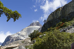 Peaks of Los Cuernos on sunny day. Peaks of Los Cuernos in Torres del Paine, Patagonia, Chile on sunny day stock photos