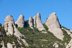 Peaks of the Montserrat Mountains Royalty Free Stock Photo