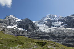 Peaks of Mount Eiger and Mount Moench, Grindelwald, Switzerland Royalty Free Stock Photography