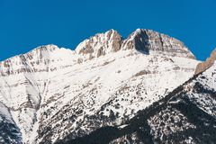 Peaks of Mount Olympus with snow Royalty Free Stock Image