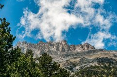 Peaks of mountain Olympus in Greece from refuge A Stock Photos