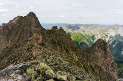 Peaks of the mountains in summer Stock Photos