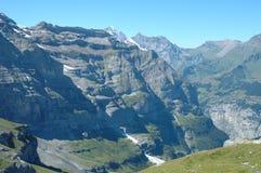 Peaks nearby Kleine Scheidegg in Alps in Switzerland Stock Photo