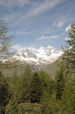 Peaks of Ober Gabelhorn and Wellenkuppe. Above Sunnegga royalty free stock photos