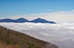 The Peaks of Otter Peeking Through the Morning Fog royalty free stock image