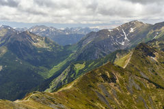 Peaks panorama Tatra mountains, Zakopane, Poland Royalty Free Stock Photo