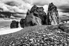 Peaks. Rocks, stoned and sea Black & White royalty free stock photo