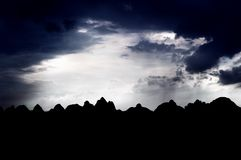 Peaks in Silhouette, Guilin, China Royalty Free Stock Photo