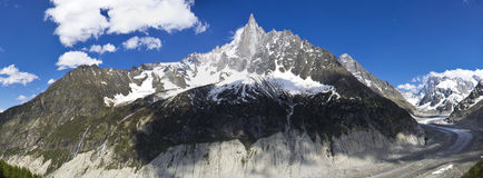 Peaks in snow and glacier nearby Chamonix Royalty Free Stock Image