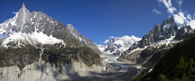 Peaks in snow and glacier nearby Chamonix Royalty Free Stock Photos