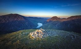 Ogwen Valley Aerial Sunset  View from Y Garn Top Stock Image