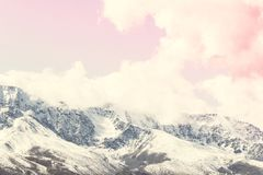 The peaks of the snowy mountain range under the pink sky. Landscape rocks in pastel color stock images