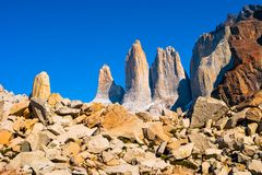 Peaks of Torres del Paine, National Park, Patagonia. Chile royalty free stock images