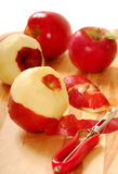 Pealing apples Royalty Free Stock Photography