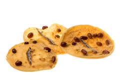 Peanut and anchovy crackers Royalty Free Stock Photos