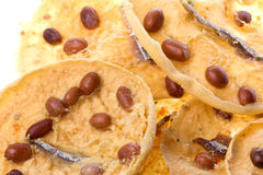 Peanut and anchovy crackers Royalty Free Stock Image