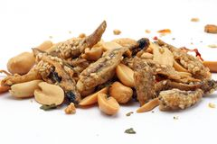 Peanut anchovy fry. With spice mix sesame on white background Stock Images