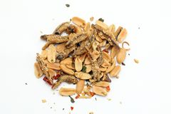 Peanut anchovy fry. With spice mix sesame on white background Royalty Free Stock Images