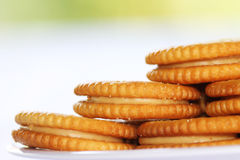 Biscuits. Delicious dish of peanut butter crackers Stock Photography