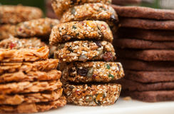 Peanut brittle and cookies. Peanut brittle and chocolate chip cookies stacked stock image