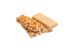 Peanut brittle with sesame seeds and peanuts. Royalty Free Stock Photography
