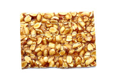 Peanut brittle  on white background Royalty Free Stock Images