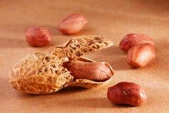 Peanut on brown Stock Photo