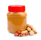 Peanut butter. With nuts on white Royalty Free Stock Image