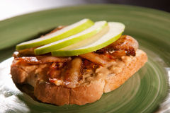 Peanut butter bacon apple sandwich Royalty Free Stock Image