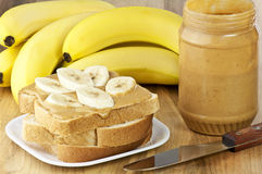 Peanut butter and banana Royalty Free Stock Image