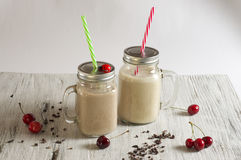 Peanut butter, banana, oatmeal and cocoa powder Smoothie. Food & Dishes for Restaurants, Cuisine of the peoples of the world, Healthy Recipes Stock Image