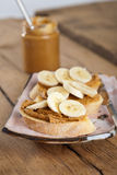 Peanut butter and banana sandwich Royalty Free Stock Photos