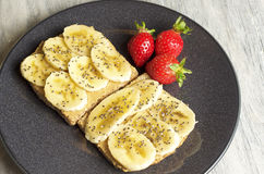 Peanut butter and banana sandwich. Food & Dishes for Restaurants, Cuisine of the peoples of the world, Healthy Recipes Royalty Free Stock Images