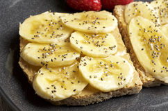 Peanut butter and banana sandwich. Food & Dishes for Restaurants, Cuisine of the peoples of the world, Healthy Recipes Stock Image