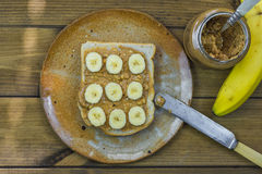 Peanut butter and banana sandwich Stock Photos
