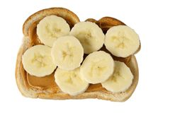 Peanut butter and banana toast Royalty Free Stock Photo