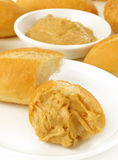 Peanut butter on bread Stock Images