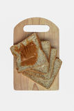 Peanut Butter bread on cutting board on the white background Royalty Free Stock Images