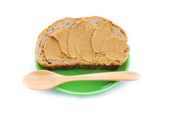 Peanut butter with bread Stock Photo