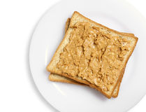Peanut butter on bread Stock Photography