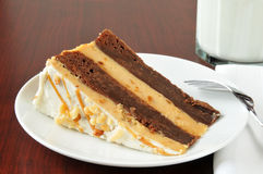 Peanut butter brownie cheese cake Stock Photography