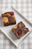 Peanut Butter Brownies with raspberries Stock Image