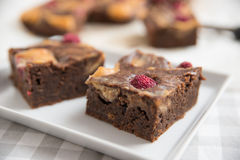 Peanut Butter Brownies with raspberries Stock Images