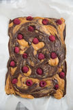 Peanut Butter Brownies with raspberries Royalty Free Stock Images