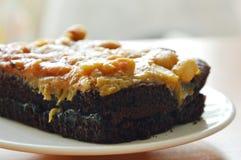 Peanut butter caramel topping dark chocolate cake on dish Royalty Free Stock Photos