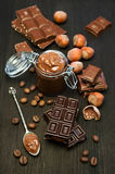 Peanut butter and chocolate bar Royalty Free Stock Images