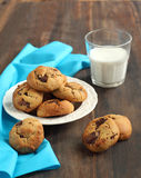 Peanut butter and chocolate chip cookies. With milk Stock Photography