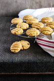 Peanut butter and chocolate chip cookies on a cooling rack Royalty Free Stock Image