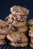 Peanut Butter Chocolate Chip Cookies Stacked on Wire Rack Royalty Free Stock Photos